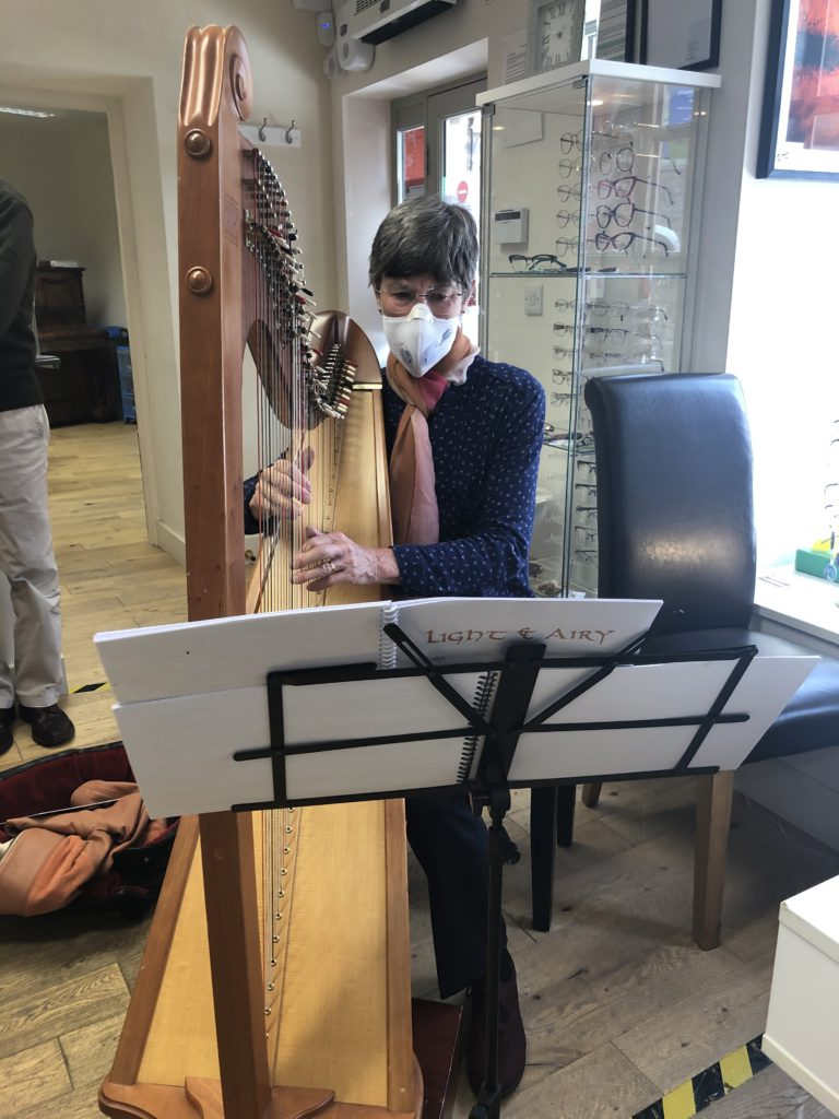 Harpist Joan Deanley could see the music but not the dymnamics and accidentals