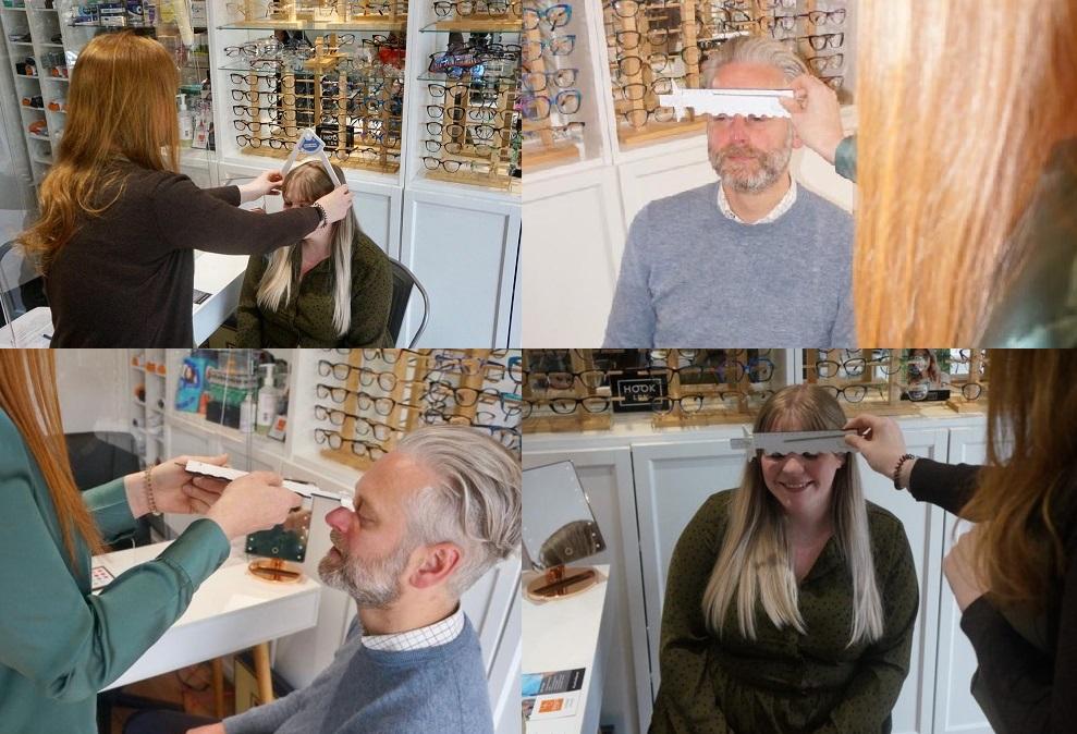 Dispensing Optician Claire taking facial measurements