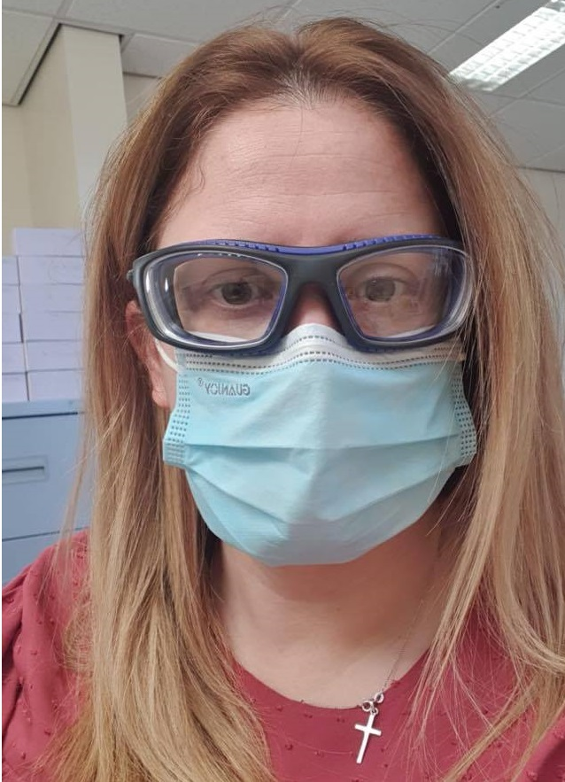 Kim Walker dispensing optician wearing Bolle safety goggles